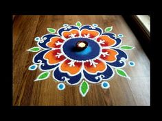 Simple,Easy and Quick freehand Rangoli designs with colours/ Rangoli Designs by Shital Daga Rangoli Designs Simple Diwali, Indian Rangoli Designs, Rangoli Designs Latest, Rangoli Designs Flower, Free Hand Rangoli Design, Small Rangoli Design, Rangoli Ideas, Rangoli Designs With Dots, Flower Rangoli