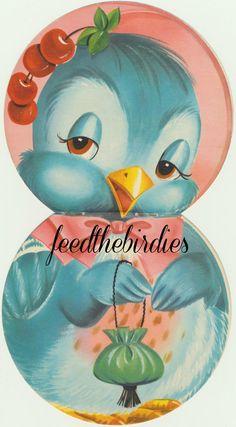 Vintage Bluebird Book Page Digital File Download Image Scrapbooking Golden Book Clip Art