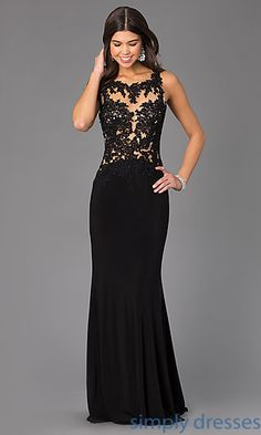 Floor Length Sleeveless Madison James Dress with Lace Bodice at SimplyDresses.com
