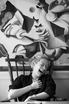 Tilda Swinton . I chose these photos ,as they are soft & Laughter  We only get to see T S working'..