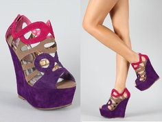 Fairley-1 Colorblock Cut Out Open Toe Wedge