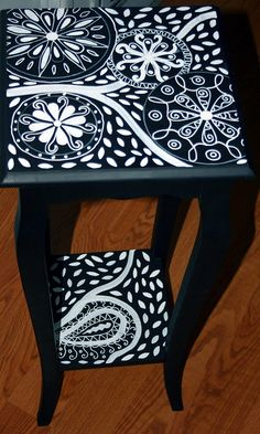 Accent Table Black and White by Rick Cheadle Art and Designs Whimsical Painted Furniture, Painted Chairs, Hand Painted Furniture, Funky Furniture, Paint Furniture, Repurposed Furniture, Shabby Chic Furniture, Furniture Projects, Furniture Makeover