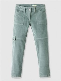 Girl's Slim Cut Combat Trousers BLUE DARK SOLID+GREY MEDIUM SOLID - vertbaudet enfant