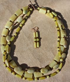 Lemonade - lemon jade 3 strand necklace Strand Necklace, Jewelry Findings, Lemonade, Jade, My Etsy Shop, Trending Outfits, Unique Jewelry, Handmade Gifts, Vintage