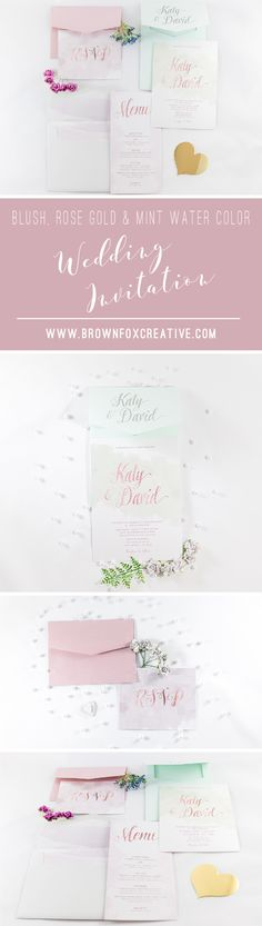 5x7 Grey, Blush Pink, Rose Gold and Mint Water Color Pocket Wedding Invitation with Watercolor. Different Colors Options Available.