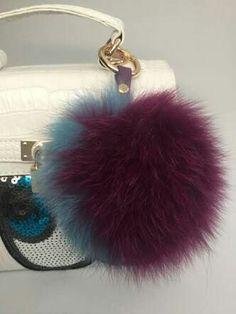 Fur Pom Pom | Fox Fur Pom Pom keychain luxury bag charm pendant...