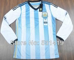 Argentina Long Sleeve 2014 World Cup Soccer  Messi Aguero Higuain Tevez  Zanetti Argentina Shirt Best Thai Quality $29.89 - 30.89