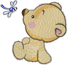 Teddy and dragonfly embroidery design. Machine embroidery design. www.embroideres.com