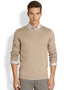 Saks+Fifth+Avenue+Collection Silk/Cashmere/Cotton+Trimmed+Sweater