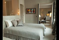 Love the luxurious and refined master bedroom in Pierre Frey, Jr.'s contemporary Paris flat.
