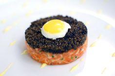 Salmon tartare topped with caviar