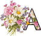 Alfabeto tintineante buquet de flores.