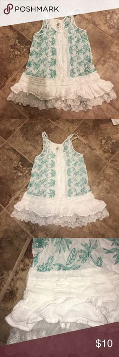 Summer Blouse White and green blouse. Perfect for a beach day or Sunday funday. lilka Tops Blouses