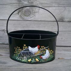 Metal Utensil Holder Caddy HP Hen Chick HandPainted Container Basket Rooster Art