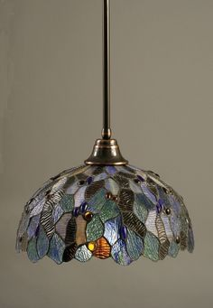 "Stem Pendant With Hang Straight Swivel Shown In Bronze Finish With 16"" Blue Mosaic Tiffany Glass"