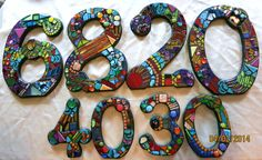 """LARGER Custom Made Mosaic House Numbers – Your Color Choice  (These are 12"""" and 7"""" tall in the 'Wild & Funky' style and colors)"""
