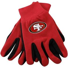 San Francisco 49ers Sport Utility Gloves by McArthur. $6.00. One size fits most. Officially licensed by NFL. Ribbed knit cuffs for great fit. Machine washable 55% cotton/45% PVC for lasting durability. Plastic beading on palm and fingers for extra grip. Get these great multi purpose gloves with team colors. They work great for the yard, garden, or shop.. Save 54% Off! Workout Machines, Fitness Machines, San Francisco 49ers, Easy Weight Loss, Nfl, Gloves, Fingers, Purpose, Sports