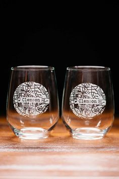 Clemson College Town Engraved Stemless Wine Glass Set