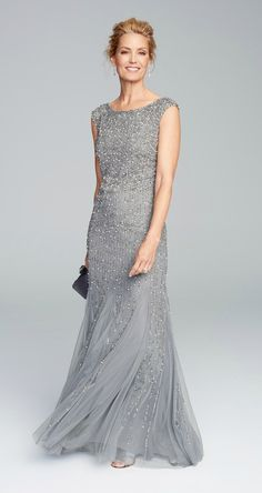 Beautiful silver beaded gown for the Mother-of-the-Bride