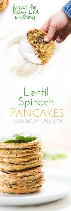 Lentil spinach Pancakes. Gluten free, dairy free and egg free. A red split lentil batter made with spices and spinach fried into little pancakes. A protein packed finger food for kids or for blw (baby led weaning)