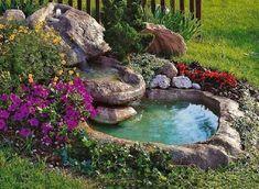 11 Εντυπωσιακά συντριβάνια για τον κήπο σου! | exypnes-idees.gr Garden Pond Design, Backyard Garden Landscape, Garden Yard Ideas, Garden Oasis, Ponds Backyard, Garden Cottage, Backyard Landscaping, Garden Planters, Container Garden