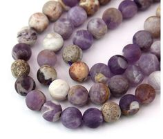 Matte Sage Amethyst Beads, 8mm Round Amethyst is a variety of quartz that gets its purple or violet color from the presence of iron in the mineral.