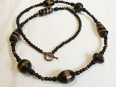 Black & Copper Glass Lampwork Beaded Necklace  61cm by BorderBeads, £9.95