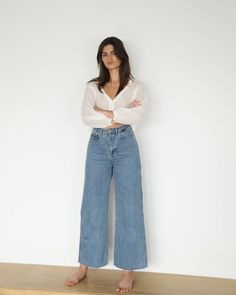 THE JANE DENIM JEAN - MID WASH | SUMMER and STORM Denim Jeans, Mom Jeans, Wide Leg, Legs, Summer, Cotton, How To Wear, Pants, Women
