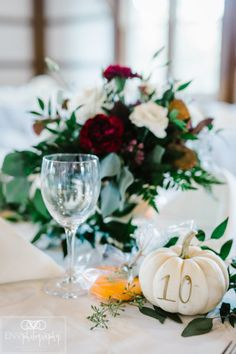 Elegantly Rustic Fall Barn Wedding is Perfectly Pretty! White Pumpkins Wedding, Fall Pumpkin Wedding, White Pumpkin Centerpieces, Thanksgiving Wedding, Rustic Wedding Centerpieces, Wedding Table Numbers, Fall Wedding Mums, Pumpkin Wedding Decorations, Rustic Table Numbers