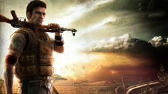 Exclusive Far Cry Character Machine Gun Plain Clouds Jack Carver Wallpaper Wallpaper