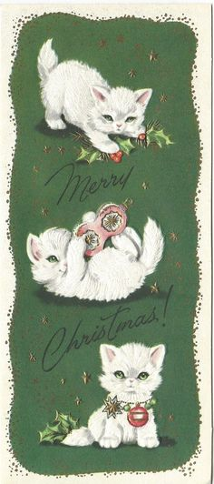 Vintage Christmas Card: White Kittens Playing with Ornaments Cat Christmas Cards, Christmas Kitten, Christmas Animals, Holiday Cards, Christmas Postcards, Christmas Ornaments, Vintage Christmas Images, Retro Christmas, Vintage Holiday