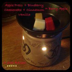 Alerte Recette Scentsy ! ***Recettes et mélanges amusant*** Enjoy!!!  Ce dont vous aurai besoin :Apple Press, Blueberry Cheesecake, Cinnamon Vanilla  Vous pouvez avoir  ces 3 Barres Scentsy pour 20 euros  sur https://milycandle.scentsy.fr/
