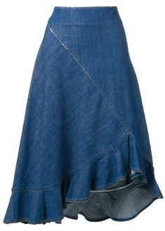 Shop online blue Kenzo denim ruffled skirt as well as new season, new arrivals daily. Phenomenal luxury selection, get it now with quick Global Shipping or Click & Collect orders. Skirt Midi, Ruffle Skirt, Dress Skirt, Denim Fashion, Fashion Outfits, Denim Skirt Outfits, Asymmetrical Skirt, Jean Skirt, African Dress