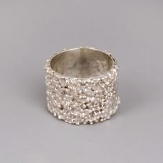 Wide Silver Ring - Silver Lava - Handmade Sterling Silver Jewelry