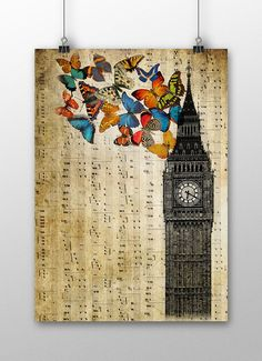 Großen Ben Poster London Tower musikalische von SofiaPrintsArt