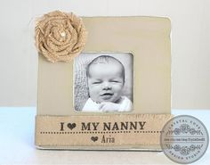 Grandma Grandmother Gift Personalized Burlap Picture Frame from Grand kids Grandchildren. Mothers Day Fathers Day Grandparents Day  Thank you for