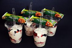 Homemade Fruit and Yogurt Parfaits To-Go!  A healthy breakfast or midday snack.  Just grab and go!  You can freeze them too, so prepare them for a week or for an entire month!  LulubellElaine.com