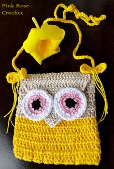 PINK ROSE CROCHET: Bolsinha Coruja Amarela Owl Purse