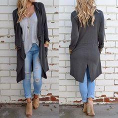 Women Long Sleeve Knitted Cardigan Loose Sweater Outwear Jacket Coat Top Sweater