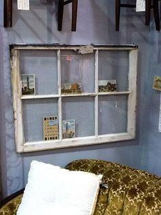 Vintage Window Pane as photo & card display Window Panes, Vintage Windows, Photo Cards, Bathroom Medicine Cabinet, Display, Diy, Ideas, Home Decor, Floor Space