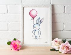 Bunny with Balloon- Printable Art - Nursery decor - Kids room decor - Children's wall art - Easter Print - Digital Print - Greeting Card by AnnaAbramskaya on Etsy