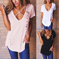 69c17a444cf Stylish Criss Cross Cut Out T-shirt Stylish Outfits