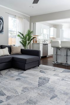 Shop our Caspian Collection in order to style your home in a modern fashion! White Sectional Sofa, Couch With Chaise, Modern Rugs, Modern Living, Led Furniture, Grey And White, Dark Grey, Buy Rugs, Modern Fashion