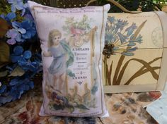 French Ad Antique Poster printed on a small pillow by Maisonvogue, $15.00