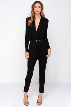 Black Jumpsuit With Sleeves Long Jumpsuits, Jumpsuits For Women, Black Jumpsuit With Sleeves, Look Fashion, Fashion Outfits, Fashion Trends, Office Outfits, Casual Outfits, Look Formal
