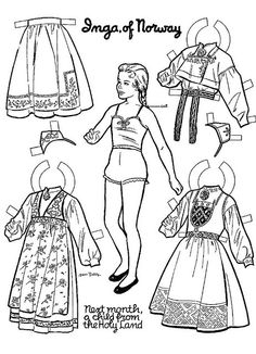 """Inga of Norway Found in """"Children's Activities"""" magazine, November, Colouring Pages, Coloring Books, Adult Coloring, Paper Doll Chain, Paper Dolls Clothing, World Thinking Day, Paper People, Paper Dolls Printable, Colorful Drawings"""