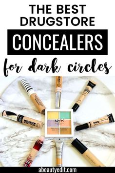 These drugstore concealers correct, cover and brighten dark circles with their highly pigmented formulas, and  help smooth fine lines.  They also help camouflage bags and puffiness too.  They are both effective and affordable! #drugstoremakeup #concealer #makeupproducts