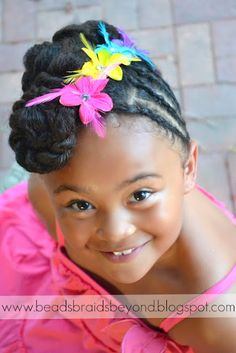 Beads, Braids and Beyond: Natural Hair Updo: Twisted Cinnabuns with Cornrows Natural Hair Updo, Natural Hair Care, Natural Hair Styles, Natural Beauty, Baby Girl Hairstyles, Braided Hairstyles, Cool Hairstyles, Kids Hairstyle, Toddler Hairstyles