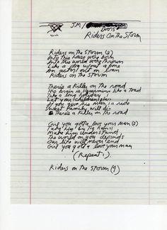 Jim Morrison's handwritten lyrics for Riders on the Storm, c.1970.