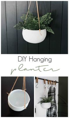 An easy modern DIY hanging planter! All you need is some spray paint and leather for this beautiful DIY project! These flower pots can be used indoor or outdoor! The perfect thrift store upcycle!